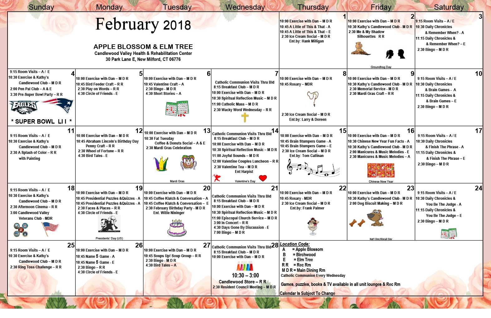 feb 2018 calendar 1
